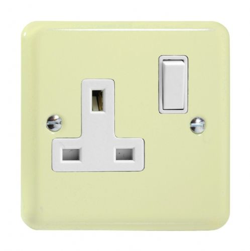 Varilight XY4W.WC Lily Pastel White Chocolate 1 Gang 13A DP Single Switched Plug Socket